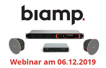 Webinar mit Johannes Kampert (Biamp) am Freitag, 06. Dezember 2019, 15:00 – 16:00 h: Zertifiziertes ProAV-Audio für Microsoft Teams Rooms