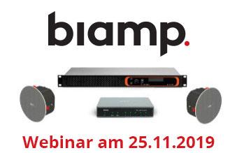 Webinar mit Johannes Kampert (Biamp) am Montag, 25. November 2019, 15:00 – 16:00 h:Zertifiziertes ProAV-Audio für Microsoft Teams Rooms